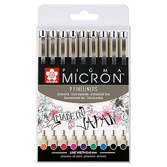 Sakura Pigma Micron Fineliner Drawing Pen Set of 9 Assorted Colours (#05)
