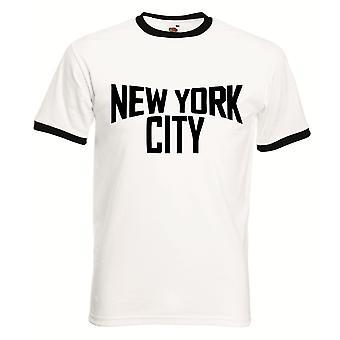 Men's camiseta de la ciudad de Nueva York ringer