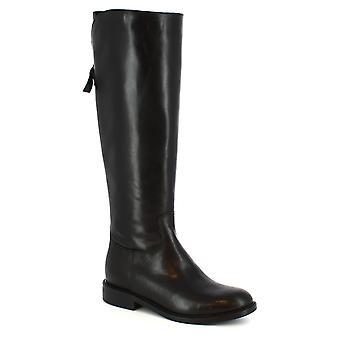 Leonardo Shoes Women's handmade elegant boots in black calf leather side zip