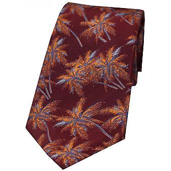 David Van Hagen Palm Tree Silk Tie - Maroon/Burnt Orange
