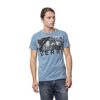 Camiseta azul azul-azul masculino de manga curta
