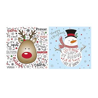 Eurowrap Christmas Cute Text Acetate Cards (Box With 24 Packs Of 12 Greetings Cards)