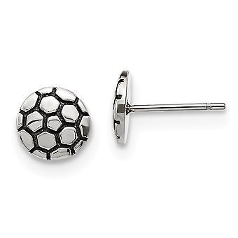 Edelstahl und poliert Fußball Ball Post Ohrringe Maßnahmen 9,22x9,07 mm breite Schmuck Geschenke für Frauen