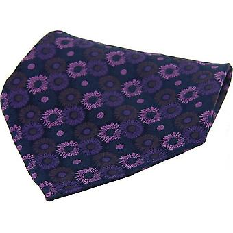 David Van Hagen Floral Patterned Silk Pocket Square - Purple
