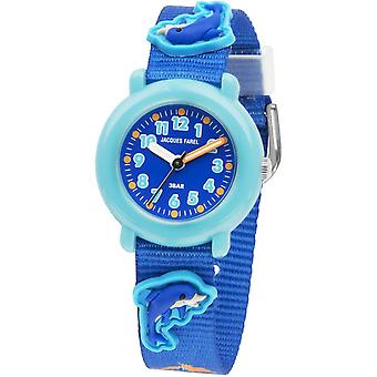 JACQUES FAREL Kids Wristwatch Analog Quartz Textile Ribbon KPA 9988 Dolphin