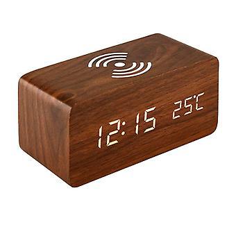 Digital Alarm Clock, Rectangular - Brown