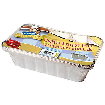 Kingfisher 5 Pack Of Extra Large Foil Food Containers With Lids 25.2 x 12.5 x