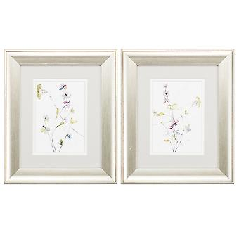 """11"""" X 13"""" Brushed Silver Frame Branches & Blossoms (Set of 2)"""