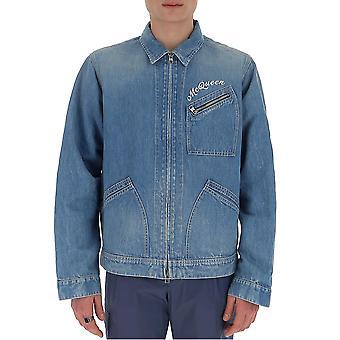Alexander Mcqueen 599994qoy164001 Hombres's Azul Algodón Chaqueta Exterior