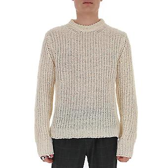 Laneus Mgu300cc2panna Men's White Cotton Sweater