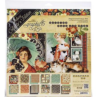 "Graphic 45 Deluxe Collector's Edition Pack 12""X12"" - Raining Cats & Honden"
