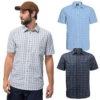 Jack Wolfskin 2021 Hombres Hot Springs Hot Springs a cuadros pecho bolsillo orgánico camisa de algodón