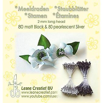 LeCrea - Stamen 2mm ,80 matt schwarz & 80 Perle Silber 26.6630 (01-20)