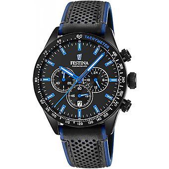 ORIGINELEN F20359 3 Festina horloge - zwarte wijzerplaat zwarte leren riem black PVD en Blue Man
