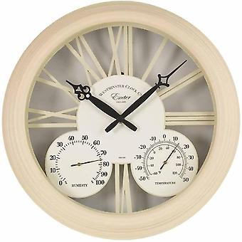 Outdoor/Indoor Garden Wall Clock Thermometer & Humidity Vintage Style Cream 15""