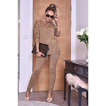 Pixie Grey Two Piece Loungewear Set - Brown