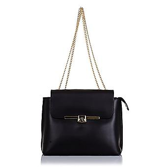 FIRENZE ARTEGIANI. Women's bag in real leather. Luxury RUGA bag in real leather. Closing luxury design. Chain strap. MADE IN ITALY. REAL ITALIAN SKIN. 26 x 20 x 9 cm. color: black
