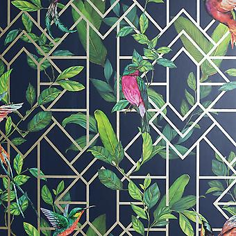 Déco Tropical Wallpaper Navy / Gold Arthouse 908003