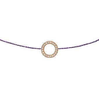 Choker Zon 18K Goud en Diamanten, op Thread - Rose Gold, Lilac