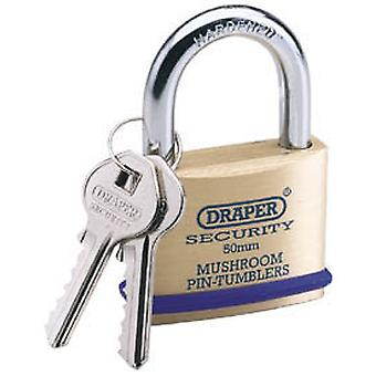Draper 64162 50mm Solid Brass Padlock & 2 Keys - Hardened Steel Shackle & Bumper