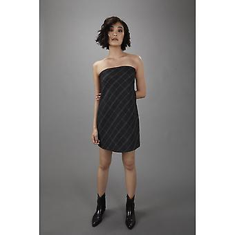 Lindsay Nicholas NY vestido de columpio sin tirantes en panel de la ventana de carbón