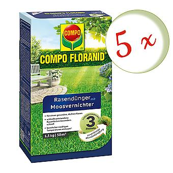 Sparset: 5 x COMPO Floranid® nurmikon lannoite sammaltappaja, 1,5 kg