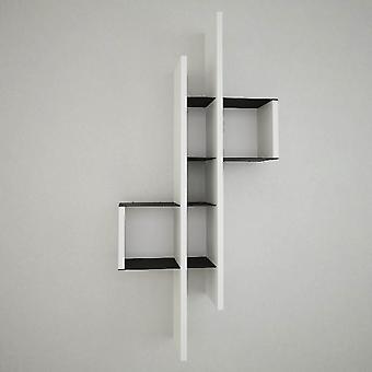 Lanzarote Shelf Color Blanco, Negro en Chip, Capa de Metal Pintado 49x20x108 cm