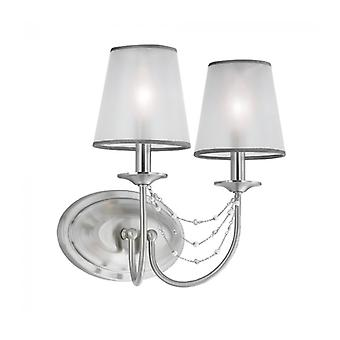 Aveline Wall Lamp, Brushed Steel, 2 Bulbs, With Lampshade
