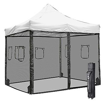 Instahibit 10x10 ft Pop Up Canopy Tent & 4 Mesh Sidewalls Commercial Ez up Canopy Sunshade Instant Trade Shelter
