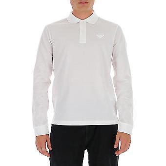 Prada Ujl124xgsf0009 Männer's weiße Baumwolle Polo Shirt