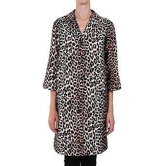 Ganni F5013943 Femmes-apos;s Manteau de lin léopard