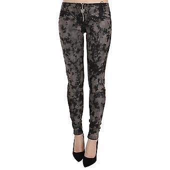 Black Gray Faded Low Waist Skinny Denim Trousers Jeans -- PAN7052336