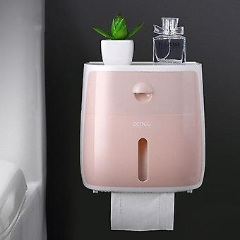 Bathroom Waterproof Double Tissue Box Plastic Toilet Paper Holder, Wall Mounted