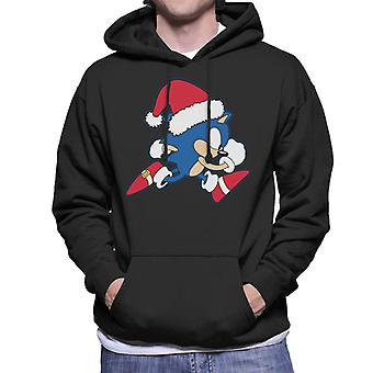 Sonic The Hedgehog vestindo papai noel homens e apos;moletom encapuzado