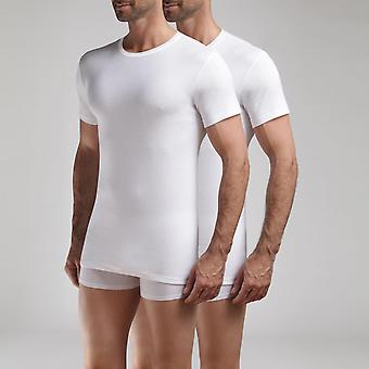 Pack Of 2 Men's White Round T-shirts