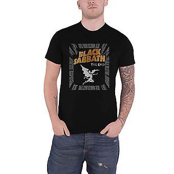 أسود السبت تي قميص نهاية شيطان باند شعار جديد رجال الرسمية السوداء