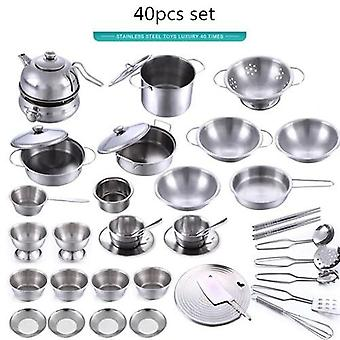 Stainless Steel Funny Kids Simulation Kitchen Toys- Cooking Cookware Children Kitchen Tableware Pretend Role Play