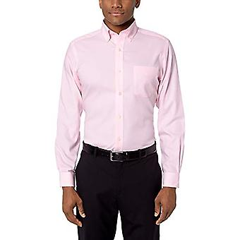 "BUTTONED DOWN Men's Tailored Fit Button Collar Solid Non-Iron Dress Shirt, Light Pink/Pockets, 17"" Neck 34"" Sleeve"