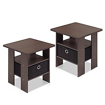 Furinno 2-11157DBR Petite End Table Bedroom Night Stand, Set of Two