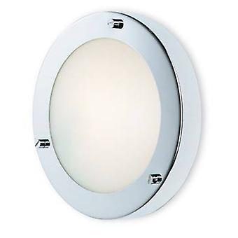 1 Light Wall / Flush Ceiling Light Chrome, Opal Glass IP54, G9