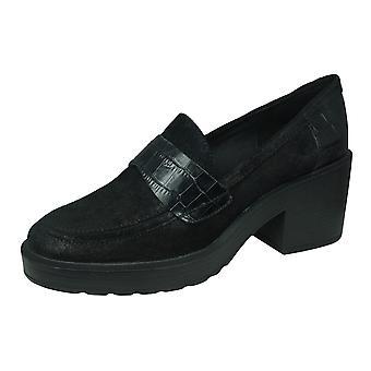 Geox D Kenly M Naisten nahka mokkasiini / kengät - musta