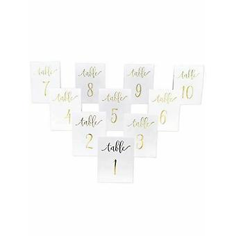White and Gold Wedding Table Numbers 1-10