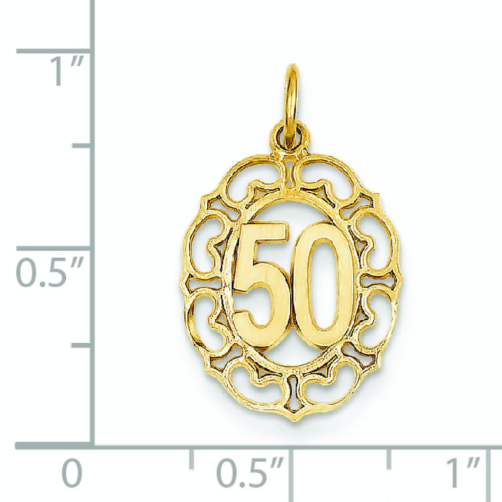 14k Yellow Gold Satin Polished Jump Ring Sport game Number 50 In Oval Pendant Necklace Measures 24.5x14.3mm Jewelry Gift