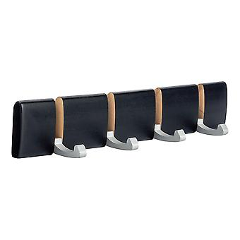 4 Hook, Wall Mounted Coat Rack - Foldaway Metal Hooks - Black
