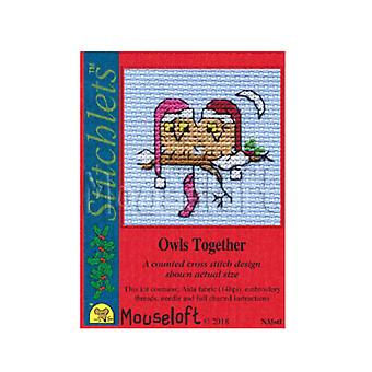Owls Together - Stitchlets Small Christmas Counted Cross Stitch Card Making Kit