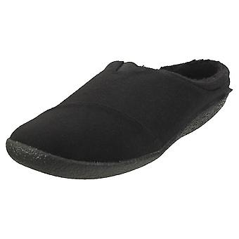 Toms Berkeley Two Tone Felt Mens Slippers Shoes in Black