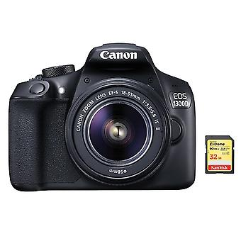 CANON EOS 1300D KIT EF-S 18-55mm F3.5-5.6 IS II + 32 Go carte SD