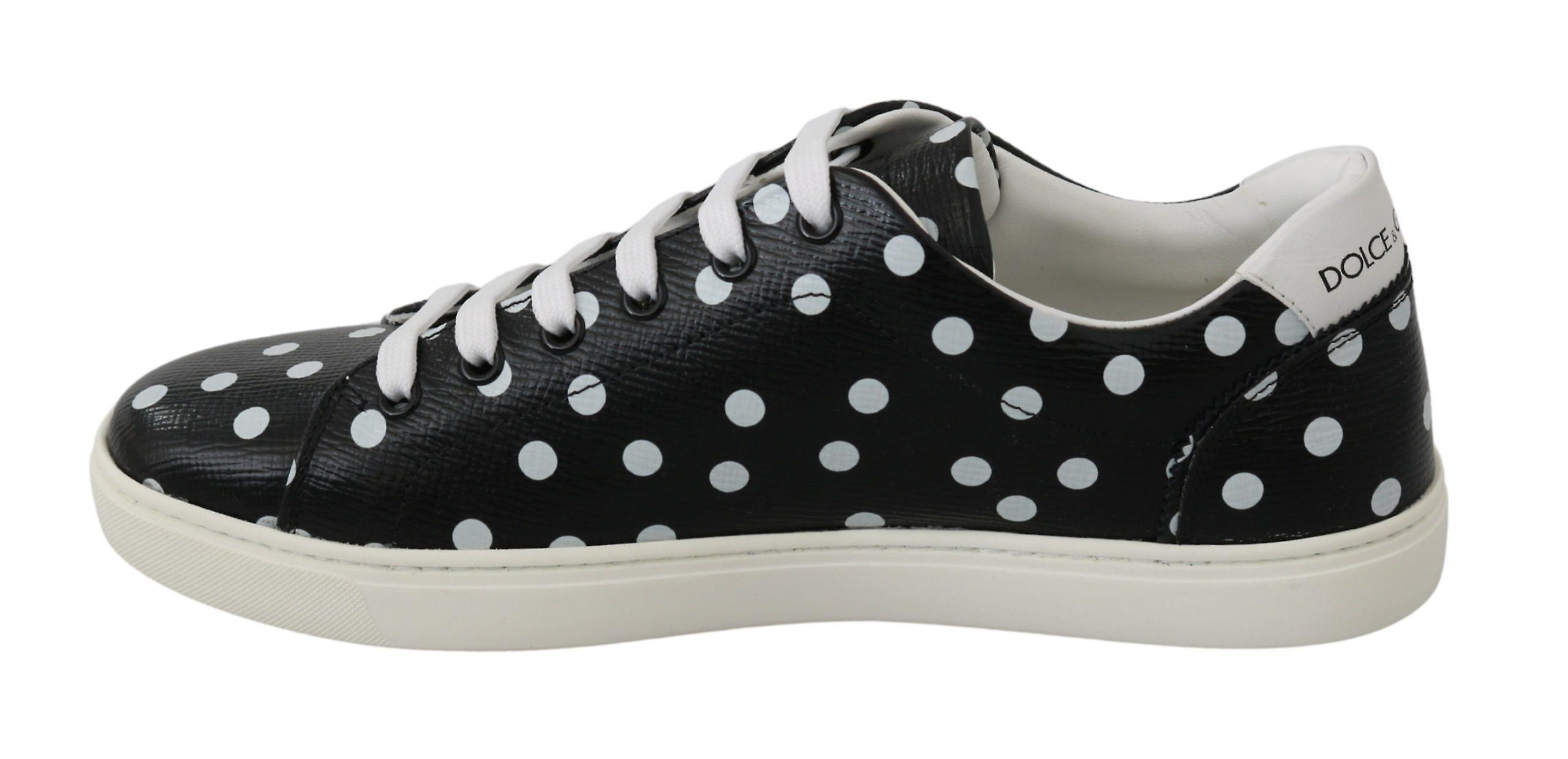 Dolce & Gabbana Black Leather Polka Dots Sneakers Shoes