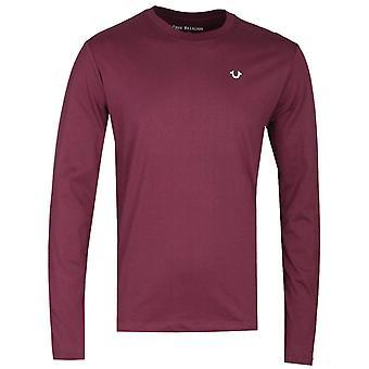 True Religion pitkähihainen Buddha viininpunainen printti-T-paita