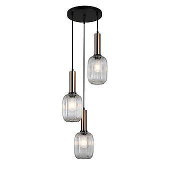 Moderne hangende hanghanger Messing 3 Licht met Duidelijke Schaduw, E27
